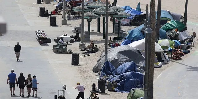 Homeless encampments line the bike path, as the coronavirus pandemic continues, on Venice Beach in Los Angeles, April 14, 2021. (Reuters)