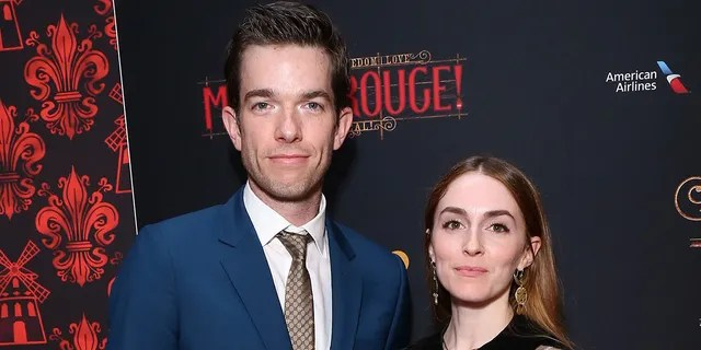 John Mulaney and Annamarie Tendler pose at the opening night party for the new musical based on the film 'Moulin Rouge! The Musical' on Broadway at The Hammerstein Ballroom on July 25, 2019 in New York City.