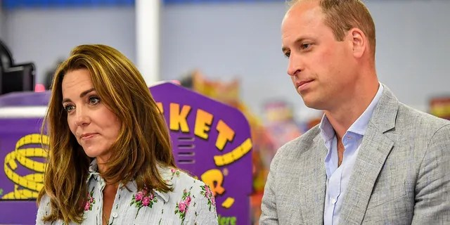 Prince William, Duke of Cambridge and Catherine, Duchess of Cambridge at Island Leisure Amusement Arcade, where Gavin and Stacey was filmed, during their visit to Barry Island, South Wales, to speak to local business owners about the impact of COVID-19 on the tourism sector on August 5, 2020 in Barry, Wales.
