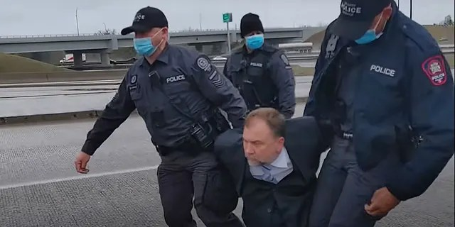 Video of the arrest Saturday was shared to YouTube.
