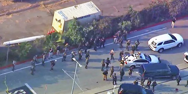 The scene outside the site of Wednesday's shooting. (KGO)