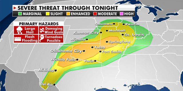 The threat of severe weather Thursday. (Fox News)