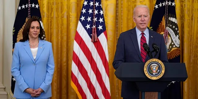 President Joe Biden speaks about infrastructure negotiations, in the East Room of the White House, Thursday, June 24, 2021, in Washington. Vice President Kamala Harris stands at left. (Associated Press)