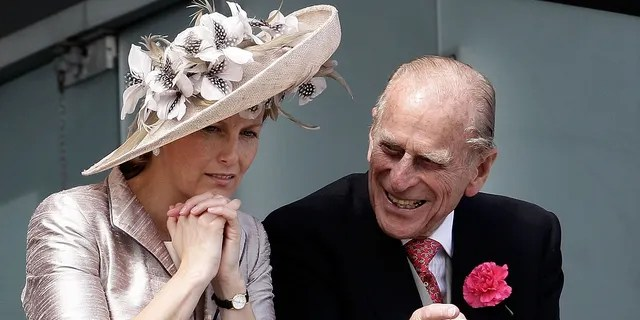 Prince Philip and Sophie, Countess of Wessex wait for the start of the Epsom Derby at Epsom Downs racecourse on June 4, 2011, in Epsom, England. The Duke of Edinburgh passed away on April 9 at age 99.