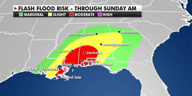 Flash flood risk through Sunday morning in the Southeast