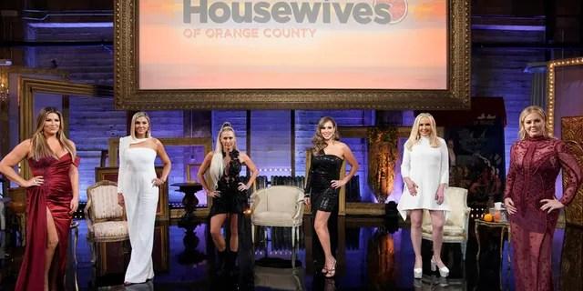 """The Real Housewives of Orange County"" – (L-R) Emily Simpson, Gina Kirschenheiter, Braunwyn Windham-Burke, Kelly Dodd, Shannon Storms Beador, Elizabeth Lyn Vargas"
