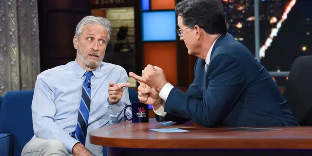 The Late Show with Stephen Colbert and guest Jon Stewart during Monday's June 14, 2021 show.