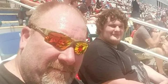 Jeff Moore and Jason are pictured before they started their weight loss journey last June. According to SWNS, they each weighed about 420 pounds.