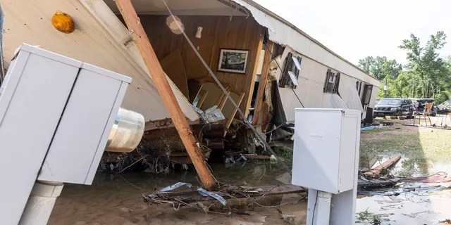 A home owned by Larry and Sally Higgins was destroyed by heavy flooding Saturday night in Northport, Ala. (AP)
