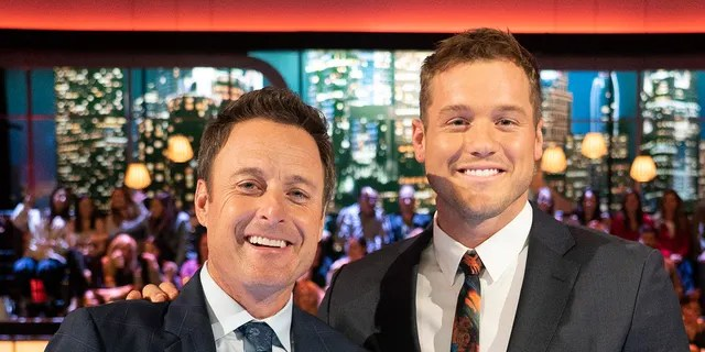 Chris Harrison (L) and Colton Underwood (R) during his season.