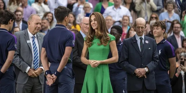Duchess of Cambridge centre court with ball boys, Wimbledon Tennis Championships July 10