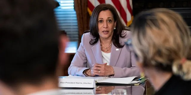 Vice President Kamala Harris will meet LGBTQ stakeholders in her ceremonial office at the White House complex in Washington on Wednesday, June 23, 2021.  (AP Photo/Jacquelyn Martin)
