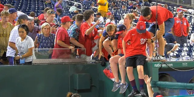 Fans jump into a camera well after hearing gunfire from outside Nationals Park during a Saturday baseball game between the San Diego Padres and the Washington Nationals. (John McDonnell/The Washington Post via AP)