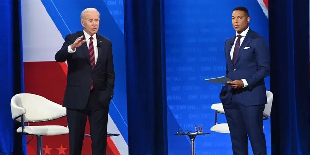 President Joe Biden participates in a widely mocked CNN Town Hall hosted by Don Lemon at Mount St. Joseph University in Cincinnati, Ohio. (Photo by SAUL LOEB/AFP via Getty Images)