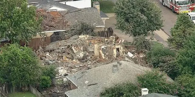 An aerial view of a destroyed Plano, Texas home where an explosion occurred Monday.