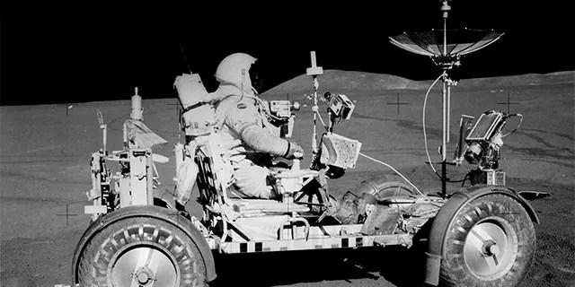 Commander Dave Scott on the Lunar Roving Vehicle (LRV)