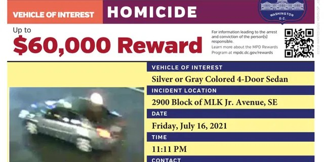The vehicle of interest used in the shooting that that killed Nyiah Courtney, 6, and wounded five others.