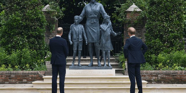 Prince Harry was in the U.K. to unveil a state honoring his mother Princess Diana alongside his older brother Prince William.
