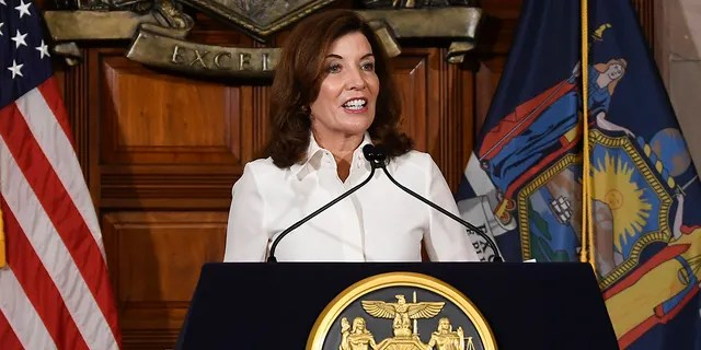 New York Gov. Kathy Hochul speaks to reporters after a ceremonial swearing-in ceremony at the state Capitol on Aug. 24, 2021, in Albany, N.Y.
