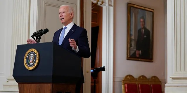 President Joe Biden speaks about the end of the war in Afghanistan from the State Dining Room of the White House, Tuesday, Aug. 31, 2021, in Washington.