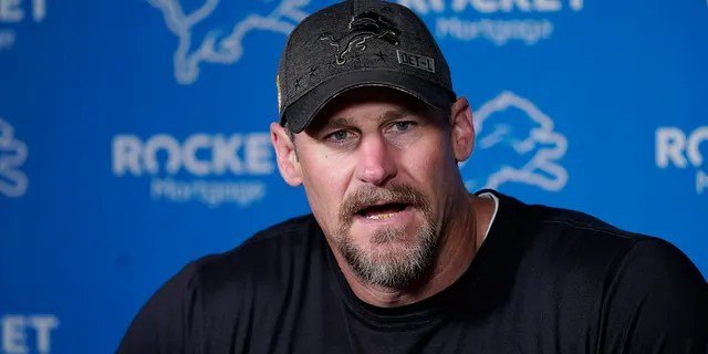 Detroit Lions head coach Dan Campbell addresses the media before drills at Lions football camp, Wednesday, July 28, 2021, in Allen Park, Mich.