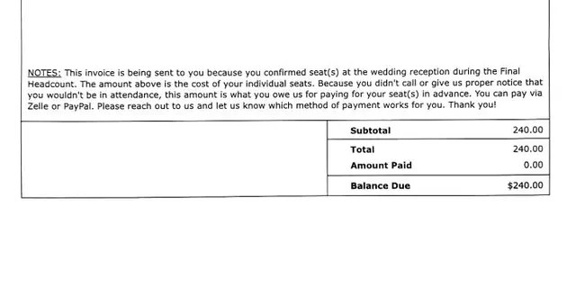 """According to Douglas Simmons, eight guests who confirmed their attendance skipped out on the destination wedding without notice. This inspired him and his wife to create a """"no-call, no-show"""" invoice that demonstrates the cost of two reception dinners."""