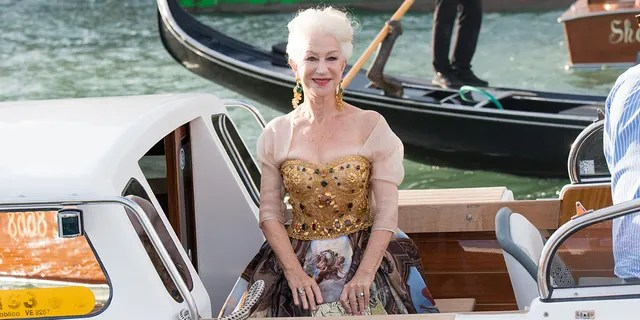 VENICE, ITALY - AUGUST 29: Helen Mirren is seen during the Dolce&Gabbana Alta Moda show on August 29, 2021 in Venice, Italy. ()