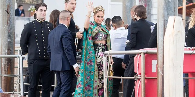 Jennifer Lopez arrives at the Dolce & Gabbana Alta Moda show in Venice.