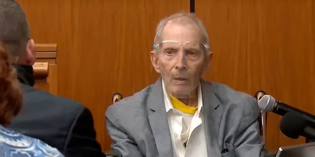 Real estate heir Robert Durst answers questions while taking the stand during his murder trial on Aug. 31, in Los Angeles County Superior Court in Inglewood, Calif.
