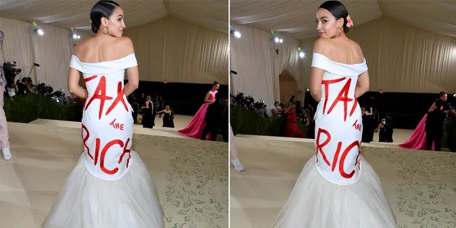 Alexandria Ocasio-Cortez attends The 2021 Met Gala Celebrating In America: A Lexicon Of Fashion at Metropolitan Museum of Art on September 13, 2021 in New York City.