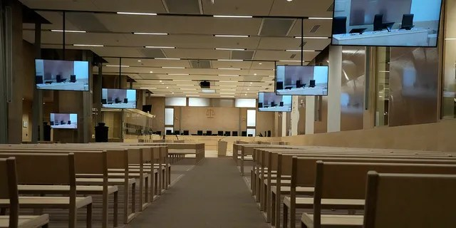 The specially built courtroom is pictured Thursday, Sept. 2 2021 at the court house in Paris. In an enormous custom-designed chamber, France is putting on trial 20 men accused in the Nov. 13, 2015, Islamic State terror attacks on Paris that left 130 people dead and hundreds injured.