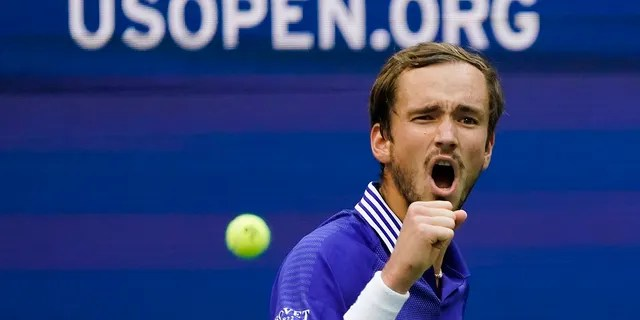 Daniil Medvedev, of Russia, reacts after scoring a point against Felix Auger-Aliassime, of Canada, during the semifinals of the U.S. Open tennis championships, Friday, Sept. 10, 2021, in New York City. (Associated Press)