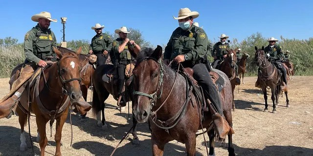 Border Patrol agent on horseback.  (Fox News/Bill Melugin)