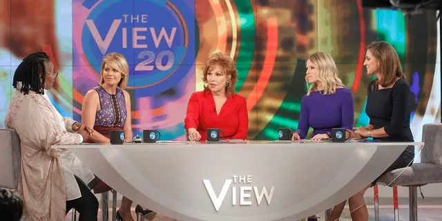 From left to right: Whoopit Goldberg, Candace Cameron Bure, Joy Behar, Sara Haines and Paula Faris on 'The View.'