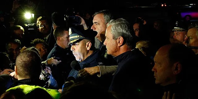 Then-Boston Police Commissioner Edward Davis speaks during a media briefing in the parking lot of the Watertown Mall on April 19, 2013 in Watertown, Massachusetts. (Jared Wickerham/Getty Images)