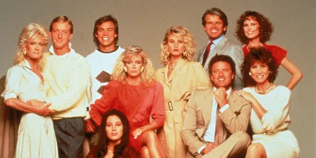 The cast of the American prime time television soap opera 'Knots Landing' pose for a publicity still, circa 1980.