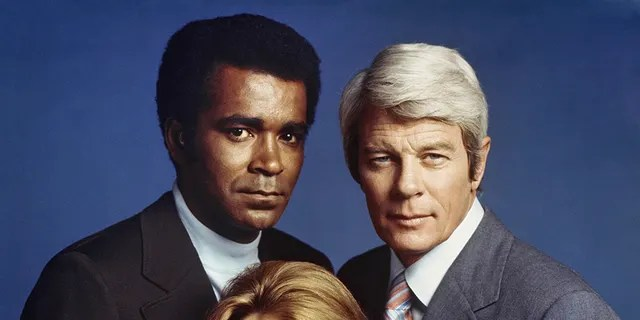 """""""Mission: Impossible"""" cast members from left, Greg Morris as Barney Collier, Lynda Day George as Casey and Peter Graves as James Phelps, Aug. 2, 1972."""