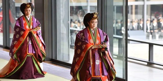 Japan's Princess Mako (R) attends the enthronement ceremony where Emperor Naruhito officially proclaimed his ascension to the Chrysanthemum Throne at the Imperial Palace on Oct. 22, 2019 in Tokyo, Japan.