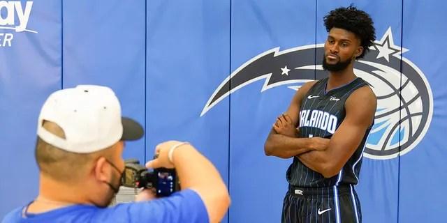 Orlando Magic forward Jonathan Isaac poses for a photo during NBA basketball media day, Monday, Sept. 27, 2021, in Orlando, Florida.