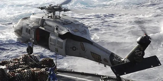 The MH-60S Seahawk missions are Anti-Surface Warfare, combat support, humanitarian disaster relief, Combat Search and Rescue, aero medical evacuation, SPECWAR and organic Airborne Mine Countermeasures. The Coast Guard has halted its search efforts for five sailors who went missing after it fell off an aircraft carrier this week.