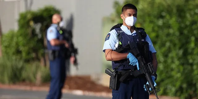Armed police patrol the area around Countdown LynnMall after a mass stabbing incident on Sept. 3, 2021 in Auckland, New Zealand. (Getty Images)