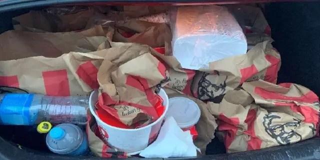 Kentucky Friend Chicken inthe trunk of a car in New Zealand.