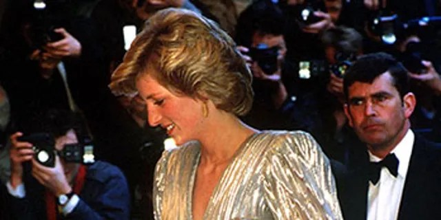 Princess Diana wore a shimmering silver gown with similar shaping to the 1985 premiere of another Bond flick, 'A View to a Kill.'