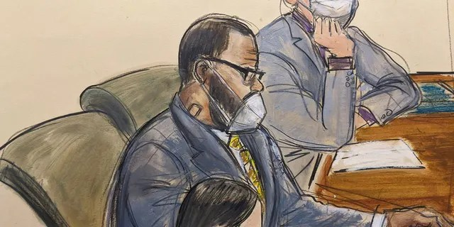 In this courtroom sketch, R. Kelly, center, sits with his defense attorneys Thomas Farinella, top, and Nicole Blank Becker during the first day of his defense in his sex trafficking case, Monday, Sept. 20, 2021, in New York.