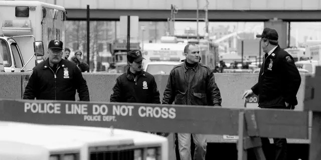 World Trade Center bombing Police Commissioner Ray Kelly comes out of the hole with Emergency Service Cops. (Bill Turnbull/NY Daily News Archive via Getty Images)
