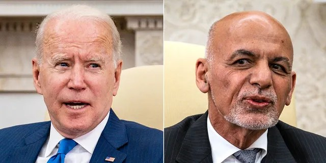 WASHINGTON, DC - JUNE 25: U.S. President Joe Biden makes brief remarks while hosting Afghanistan President Ashraf Ghani and Dr. Abdullah Abdullah, Chairman of the High Council for National Reconciliation, in the Oval Office at the White House June 25, 2021 in Washington, DC. Biden announced in April that he was pulling all U.S. forces from Afghanistan and ending America's longest war by September 11. (Photo by Pete Marovich-Pool/Getty Images) __ WASHINGTON, DC - JUNE 25: Afghanistan President Ashraf Ghani makes brief remarks during a meeting with U.S. President Joe Biden and Dr. Abdullah Abdullah, Chairman of the High Council for National Reconciliation, in the Oval Office at the White House June 25, 2021 in Washington, DC. Biden announced in April that he was pulling all U.S. forces from Afghanistan and ending America's longest war by September 11. (Photo by Pete Marovich-Pool/Getty Images)