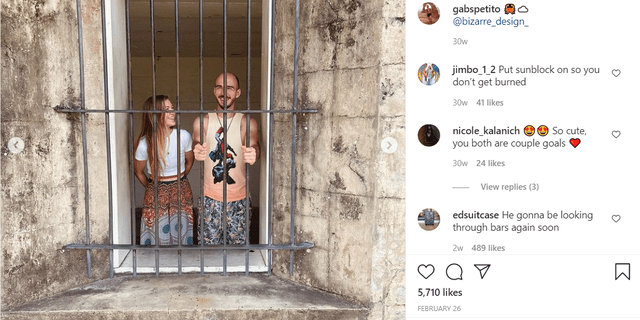 Gabby Petito, left, and Brian Laundrie in a photo posted earlier this year purportedly showing them at Fort De Soto Park in Florida.