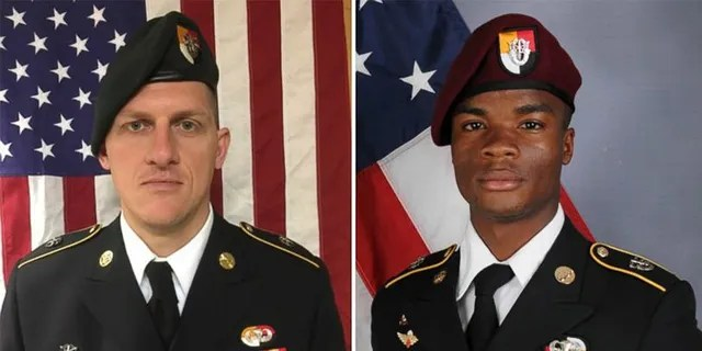 A combination photo of U.S. Army Special Forces Sergeant Jeremiah Johnson (L to R), U.S. Special Forces Sgt. Bryan Black, U.S. Special Forces Sgt. Dustin Wright and U.S. Special Forces Sgt. La David Johnson killed in Niger, West Africa on October 4, 2017, in these handout photos released October 18, 2017.