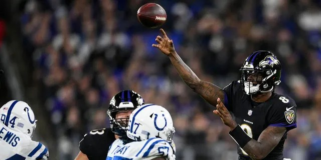 Baltimore Ravens quarterback Lamar Jackson (8) throws the ball during the second half of an NFL football game against the Indianapolis Colts, Monday, Oct. 11, 2021, in Baltimore.