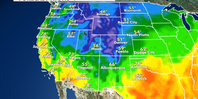 Forecast highs in the West